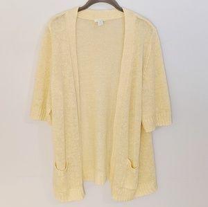 Yellow Chico's short sleeve cardigan linen 3